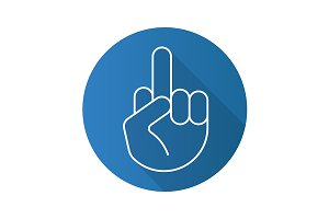 Middle finger up icon. Vector