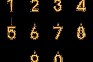 Alphabet light bulb Number 0-9