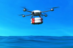 Rescue drone with lifebuoy flying.