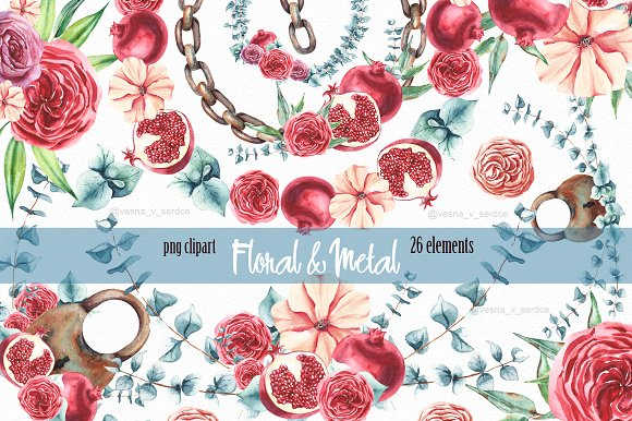 Burgundy Flower Metal Clipart