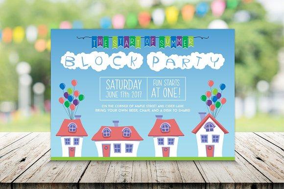 Summer Neighborhood Block Party Invitation Templates Creative Market