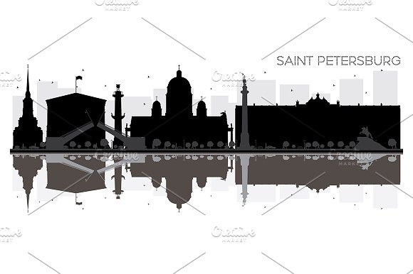 Saint Petersburg City skyline in Illustrations