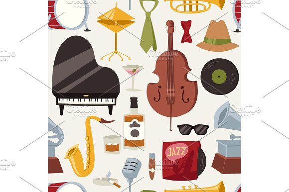 Fashion Jazz Band Music Party Symbols And Musical Instrument Sound Concert Acoustic Blues Bass Design Vector Seamless Pattern