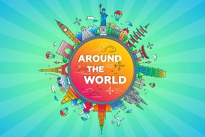 Around the World - flat design travel composition