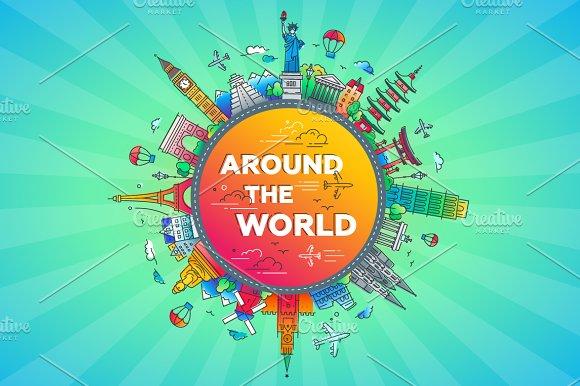 Around the World - flat design travel composition