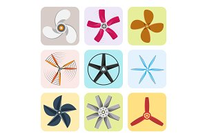 Propeller fan vector illustration fan propeller wind ventilator equipment air icon blower cooler set rotation technology power object circle rotate