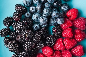 Various fresh summer berries.