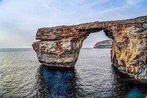 Sea view to Azure window natural arch, Gozo island Malta