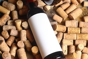 Red wine and corks
