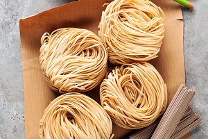 Bundle of buckwheat soba noodles