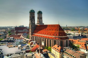 Aerial view to Frauenkirche church Munich Germany