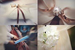 Wedding rings and decor elements