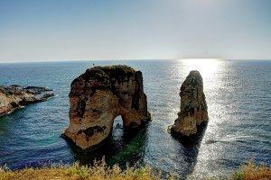 Raouche or Pigeon Rock, Beirut, Lebanon
