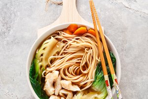 Asian noodles in broth