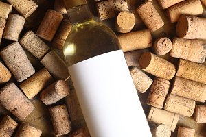 White wine and corks