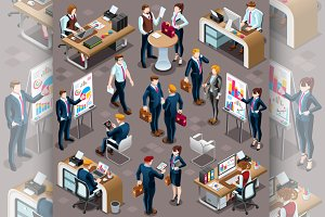 Isometric People Sale Bank Desk Icon