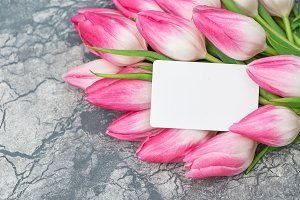 Pink tulip flowers paper tag