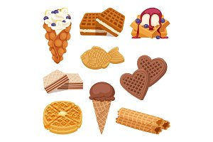 Different wafer cookies on white background waffle cakes and chocolate delicious snack cream dessert crispy bakery food vector illustration.