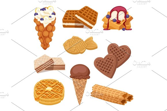 Different Wafer Cookies On White Background Waffle Cakes And Chocolate Delicious Snack Cream Dessert Crispy Bakery Food Vector Illustration