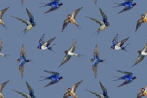 Watercolor Swallows