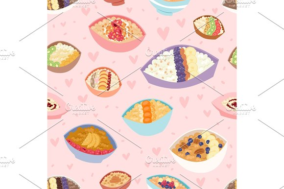 Cartoon Seamless Pattern Healthy Oatmeal Porridge In Bowls With Different Organic Fillings And Traditional Diet Oat Morning Cereal Meal Vector Illustration