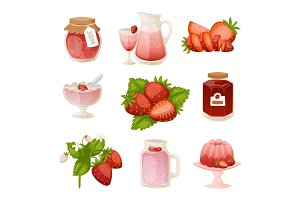 Confectionery desserts strawberry milk cake cupcake pink icon set delicious raw ripe jam and fresh product fruit healthy red berry vector illustration.