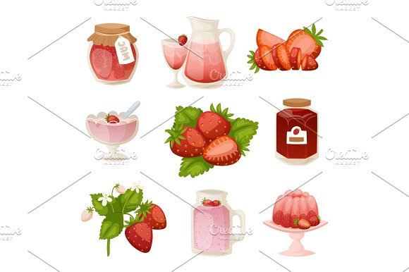 Confectionery Desserts Strawberry Milk Cake Cupcake Pink Icon Set Delicious Raw Ripe Jam And Fresh Product Fruit Healthy Red Berry Vector Illustration
