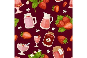Confectionery desserts strawberry pink icon set delicious raw ripe jam and fresh product fruit healthy red berry seamless pattern, vector illustration.