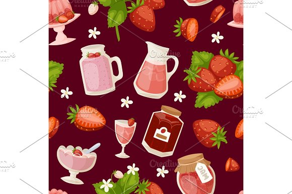 Confectionery Desserts Strawberry Pink Icon Set Delicious Raw Ripe Jam And Fresh Product Fruit Healthy Red Berry Seamless Pattern Vector Illustration