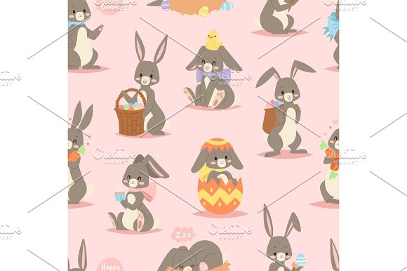 Happy Adorable Rabbit Cartoon Character Cheerful Mammal Holiday Art Hare With Basket And Cute Easter Bunny With Eggs Funny Animal Vector Seamless Pattern