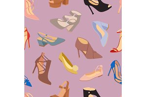 Womens shoes flat fashion footwear design vector seamless patterns background