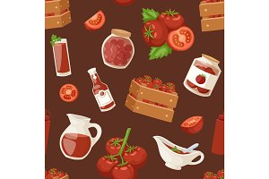 Fresh background organic red tomato products healthy vegetarian ingredient agriculture seamless pattern vector illustration.