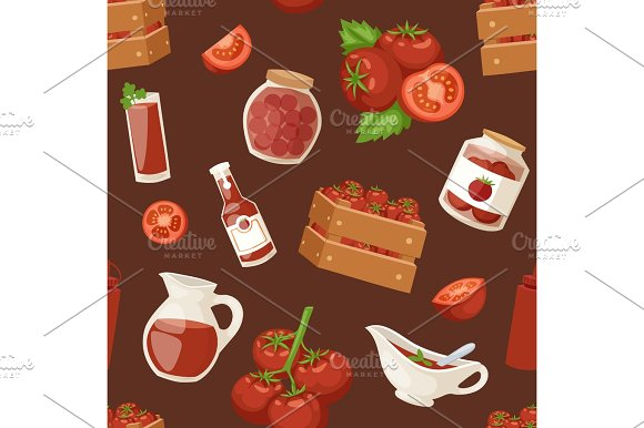 Fresh Background Organic Red Tomato Products Healthy Vegetarian Ingredient Agriculture Seamless Pattern Vector Illustration