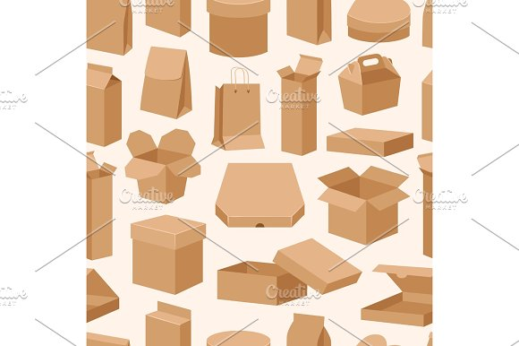 Different Boxes Packseamless Pattern Warehouse Shipping Container Vector Illustration