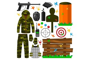 Set of paintball club symbols icons protection uniform, sport game equipment target vector illustration