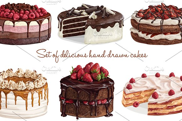 Delicious Hand Drawn Cake Collection