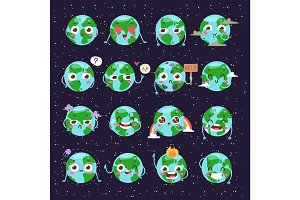 Cartoon globe with emotion web icons green global smile happy nature character expression and ecology earth planet world blue map vector illustration.