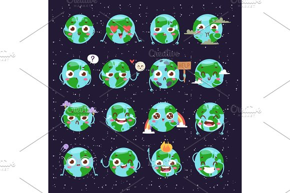 Cartoon globe with emotion web icons green global smile happy cartoon globe with emotion web icons green global smile happy nature character expression and ecology earth sciox Images