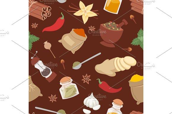 Seasoning Food Herbs Natural Vector Ingredient Seamless Pattern
