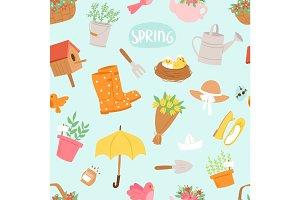 Spring natural floral symbols with blossom gardening tools seamless pattern background