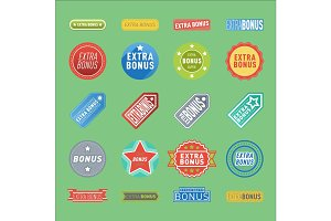 Super extra bonus banners text in color drawn labels, business shopping concept vector internet promotion shopping vector