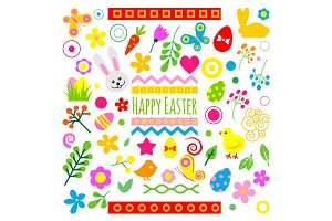 Easter holiday icons vector illustration