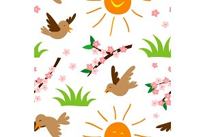 Spring natural floral symbols seamless pattern background vector