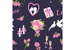 Wedding and valentine day seamless pattern vector illustration.