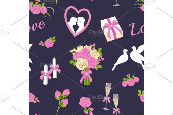 Wedding And Valentine Day Seamless Pattern Vector Illustration