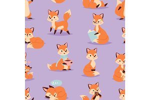 Fox cute adorable character doing different activities funny happy nature red tail and wildlife orange forest animal seamless pattern vector illustration.