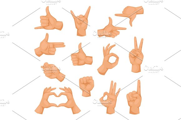Hands Showing Deaf-mute Different Gestures Isolated On White Human Arm Hold Collection Communication And Direction Design Fist Touch Vector Illusstration