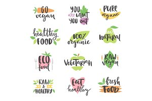 Hand drawn style set of bio organic eco healthy food labels logo templates and vintage vegan elements in green color badge vector illustration.