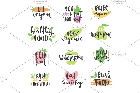 Hand Drawn Style Set Of Bio Organic Eco Healthy Food Labels Logo Templates And Vintage Vegan Elements In Green Color Badge Vector Illustration