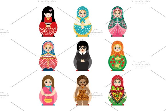 Traditional Russian Matryoshka Toy Set With Handmade Ornament Figure Pattern With Child Face And Babushka Woman Souvenir Painted Doll Vector Illustration